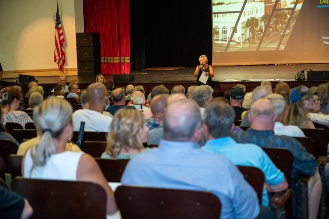Mayor Cathey Hoechst invites people to make comments at a town hall meeting in Mount Dora on June 14.