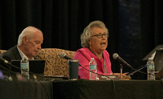 Mayor Catherine Hoechst speaks at a city council meeting at the Mount Dora Community Building in Mount Dora on July 20.