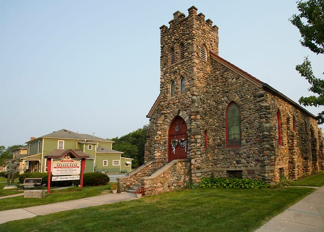 """The Tecumseh Area Historical Museum — the """"little stone church in downtown Tecumseh — is pictured Tuesday. The Tecumseh Area Historical Society is conducting a fundraiser to pay for repairs to the building."""