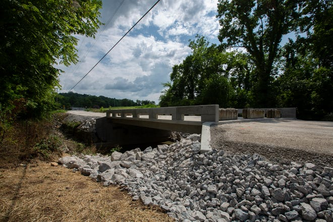 The Rep. J. B. Napier and Shirley Napier Memorial Bridge is located over Isbell Branch on Polk Lane near Mt. Pleasant, Tenn., on Tuesday, July 20, 2021.