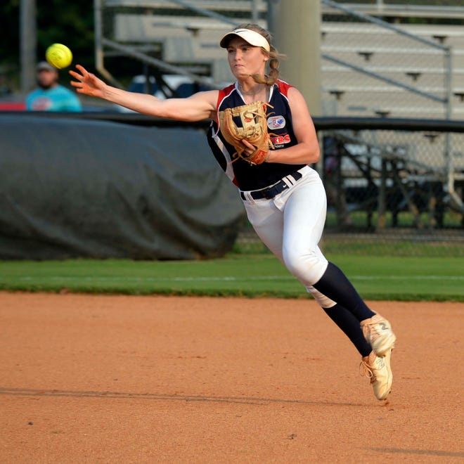 Davidson County shortstop Katelyn Rackard throws to first after fielding a grounder against Kannapolis in the second round of the American Legion Area III softball playoffs on Wednesday at Mike Lambros Field. [Mike Duprez/The Dispatch]