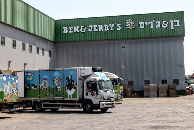 Truck are parked at the Ben & Jerry's ice-cream factory in the Be'er Tuvia Industrial area, Tuesday, July 20, 2021.
