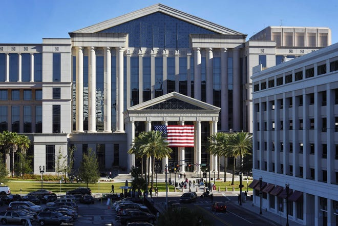 Morning light on the facade of the Duval County Courthouse Monday, February 25, 2019.