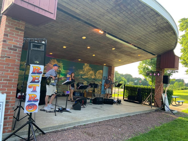 The band Retro Stew took to the stage at Gardner's Monument Park for a show on July 21. Their original Concerts in the Parkdate was rained out over the weekend.