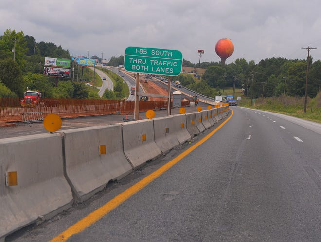Construction continues along I-85 in Cherokee County near Gaffney, Tuesday afternoon, July 20, 2021. Authorities say they will take down the traffic chutes following several wrecks in the area.