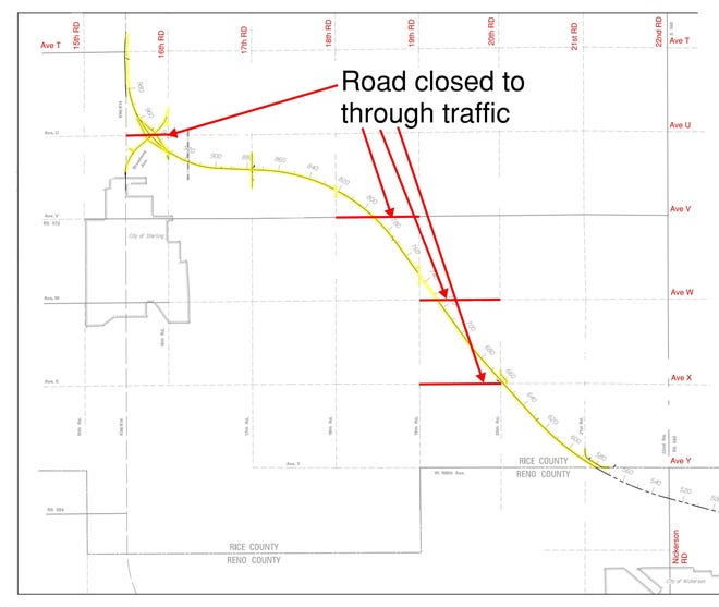 This map from the Kansas Department of Transporation shows county roads in Rice County that have been closed for the K-14 realignment project.