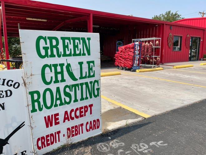 This July 12, image shows the front of Grajeda Hatch Chile Market in Hatch, New Mexico, where the roasting season is under way. Farmers say the season is shaping up to be a good one.
