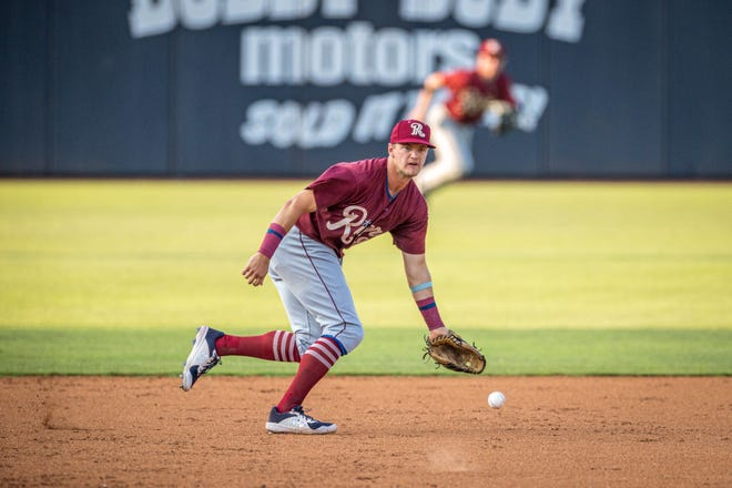 Frisco RoughRiders third baseman Josh Jung makes a play on a ball to his left during a game against the Amarillo Sod Poodles on Tuesday, July 20, 2021 at HODGETOWN Stadium in Amarillo, Texas.
