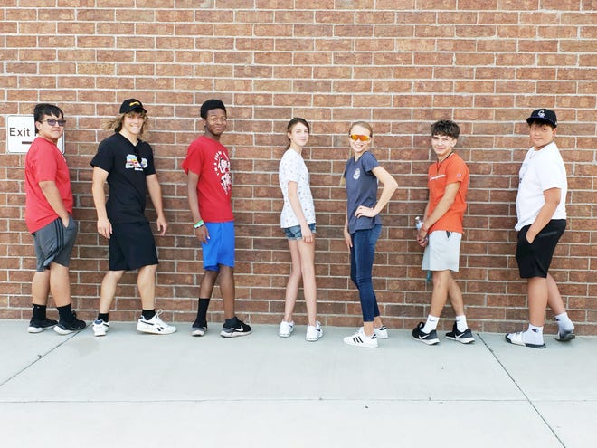 Members of the Colorado Speed youth track and field team who competed at the Nite Moves Last Chance Meet in Denver last weekend. From left, Tyler Romero, Morgan Foxhoven, Miles Marshall, Kailey Pearson, Kaitlyn Pearson, Elijah Montalvan and Ryan Remick.