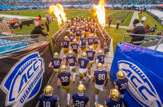 Notre Dame takes the field for the ACC Championship football game on Nov. 7, 2020 inside Bank of America Stadium in Charlotte, N.C. The Irish football program returns to independent status in 2021.