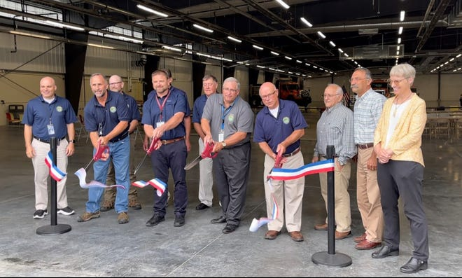 Madison County officials cut the ribbon July 21 to officially open their new $16 million state of the art highway garage on Brown Road in Eaton. The project includes a highway facility, a salt storage building, a cold storage building, a fire pump house and a fuel facility.