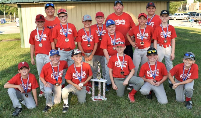The Ottawa Recreation Commission 10U Phillies baseball team finished third in a end of season tournament.Team members are front row (from left), Logan Funk, Alex Stitt, Liam Rand, Greyson Franks, Cooper Kahnt, Griffin Myers; back row, Sawyer Thackerway, coach Amanda Wadkins, Brady Wadkins, Bentley Snover, Wyatt Billings, coach Thomas Winter, Braeden Winter, Braxton Wadkins and Kasper Eversole/ Not pictured are coach Bryant Clark  and Anthony Esquivele.