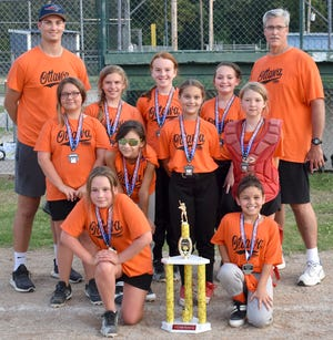 The Ottawa Recreation Commission 10U Giants softball team finished second at the end of season tournament. The team members are front row (from left), Willow Robbins, Jazlyn Borjas; second row, Kylah Stoy, Faith Bean, Aubry Michel, Kamryn Stoy; back row,  coach Aidan Michel, Kinsley Graves, Emma Kahnt, Cherokee Holland and coach Dan Michel. Not pictured are Ellie Smith, Gabriella Gray, Kayleigh Oberg and Evalyn Myers.