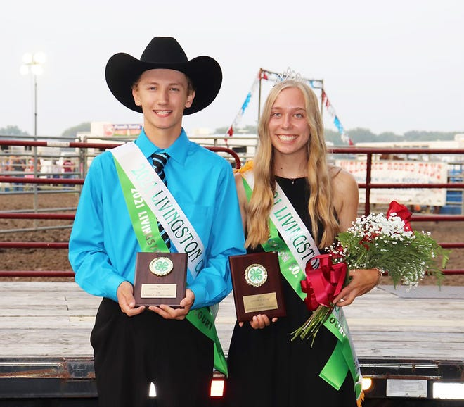 The Livingston County Ag Fair royal couple was announced Wednesday night as Christopher Corrigan, left, was named king and Ainsley Kratochvil was named queen for this year.