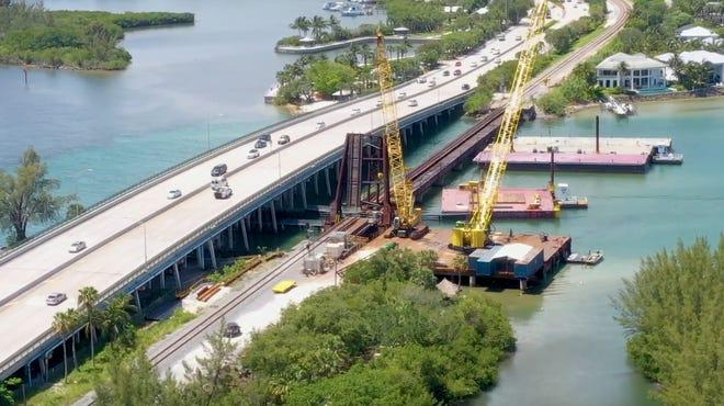 Construction began Thursday, July 22 on the drawbridge at the Loxahatchee River bridge in Jupiter.