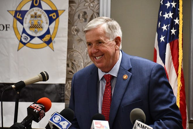 Missouri Gov. Mike Parson at a bill signing in St. Louis in October 2020. Photo courtesy of Missouri Governor's Office