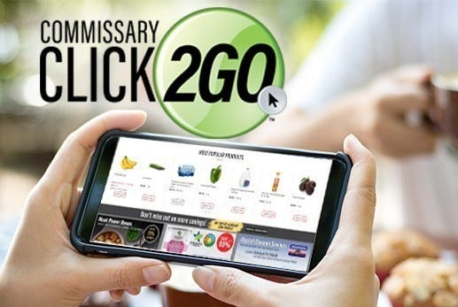 Customers use a computer or mobile device to make their orders online, where they select from commissary products offered based on the store's stock assortment.