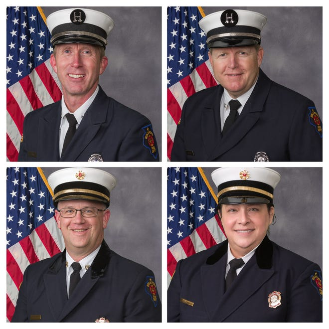 Clockwise, Rockford Fire Capt. Trent Brass, Capt. Kyle Hill, Division Chief of Operations Michele Pankow and Division Chief of Administration Matthew Knott are the four finalists to become the next chief of the Rockford Fire Department.