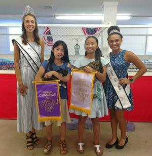 Winners of the 2021 Owen County Fair Cat Show were Meilynn Hess, second from left, with her cat Braveheart, and her sis Mia Rose Hess, second from right, won reserve grand champion honors with her cat Magnolia Jane. They are shown with 2019/2020 OC Fair Queen Kara Schafer and 2019/2020 OC Fair Princess Bre Davis.