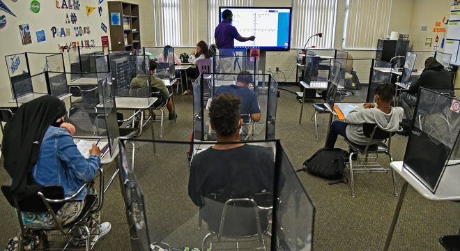 In Sarasota, Florida at Booker High School, Baraka Atkins teaches an algebra class that is socially distanced that is highly enforced throughout the entire School. THOMAS BENDER/HERALD-TRIBUNE