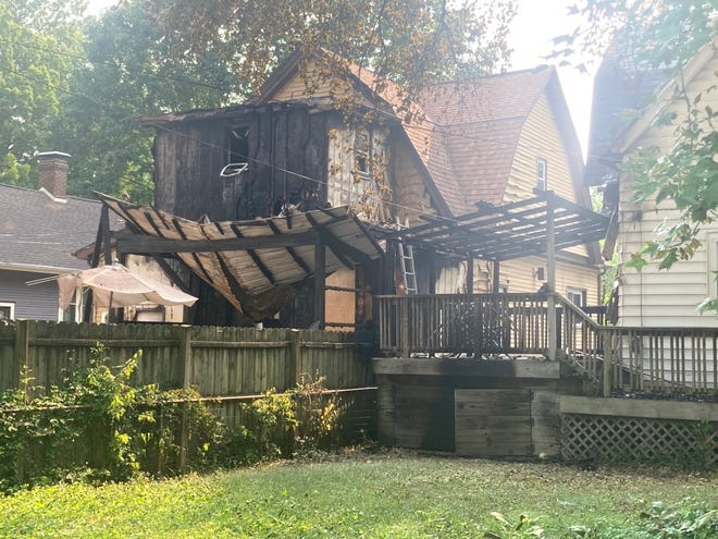 Damage from a fire in the 800 block of South English Avenue on Tuesday. Two people were displaced.