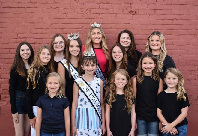 Stark County Back miss contestants, back row: Kendallyn Kull, Kylie Salisbury, Kaylin Scott and Maddie Wilson. 2019 Miss Stark County Fair Natalie Murphy. Middle row: Junior miss contestants: Katie Shipp and Sohpia McFadden pictured with the 2019 Junior Miss Kailey Smith. Front row: little miss contestants Vada Edwards, Kayleigh McFadden, Rylee Calder, and Breck Rieker pictured with the 2019 Little Miss Stark County Lilly Gillespie