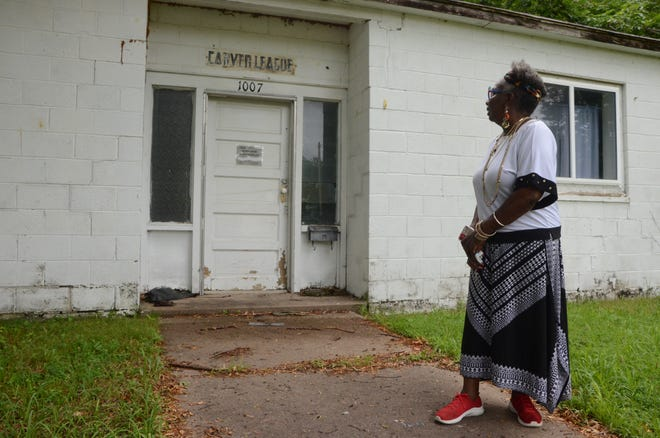 Donna Jackson Campbell Brice, shown here in front of the Carver Social League building on South Elm Street in Pittsburg, hopes to generate support for an effort to turn the abandoned community center into a museum.