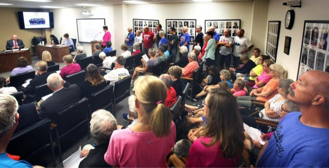 A standing-room-only crowd attended a July 2021 meeting of the Shawnee County Commission.