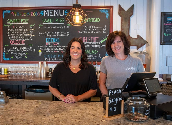 Owners April Adams and Elisa Kjerting behind the counter at Pie Town restaurant in Barre.