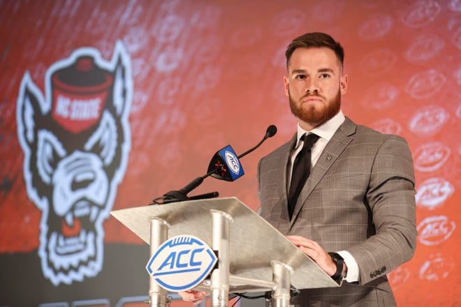 N.C. State quarterback Devin Leary answers a question during a news conference at the Atlantic Coast Conference media days in Charlotte July 22.