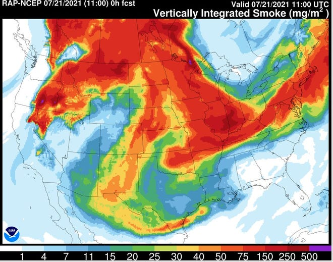 Smoke from wildfires in the western US will cause the Cape Fear region to see haze in the coming days.