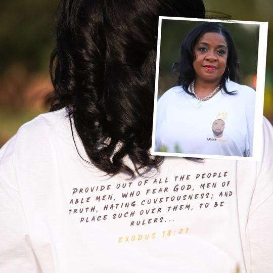 Roxie Dewitt Dawson shows a shirt made in honor of her late son, Darius J. Dawson. Several events in his honor are planned for this weekend, including 'Ruler Day,' scheduled for Saturday at Seabrook Park in Fayetteville.