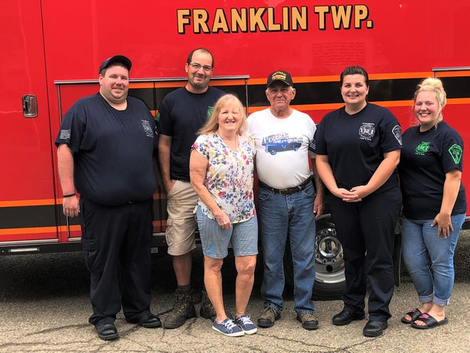 Strasburg Fire  Lt. Matt McPherson,  Fire Chief Andy Slemmer, Brenda White, Jerry White, Brittany Joki and Elaina Berry gather for a photo.  The Erie Valley Fire and Rescue personnel were all on duty and not available for a photo.