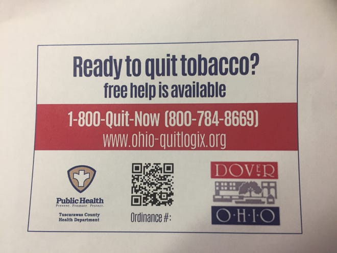 The Tuscarawas County Health Department is seeking to have all Dover businesses that sell tobacco be required to post this sticker at all point-of-sale locations.
