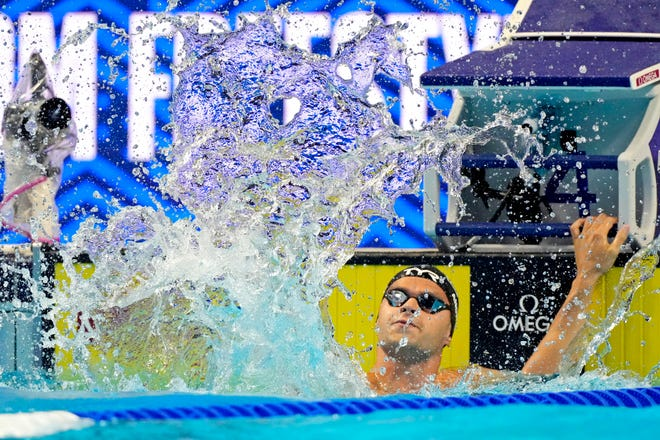 Jun 19, 2021; Omaha, Nebraska, USA; Michael Andrew reacts after winning his heat in the Men's 50-meter semifinal in during the U.S. Olympic Team Trials Swimming competition at CHI Health Center Omaha on June 21.