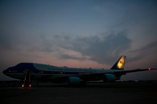 Air Force One prepares to depart Cincinnati/Northern Kentucky International Airport in Hebron, Ky., Wednesday, July 21, 2021, after traveling with President Joe Biden to Cincinnati, for a town hall and to tour an electrical training center.
