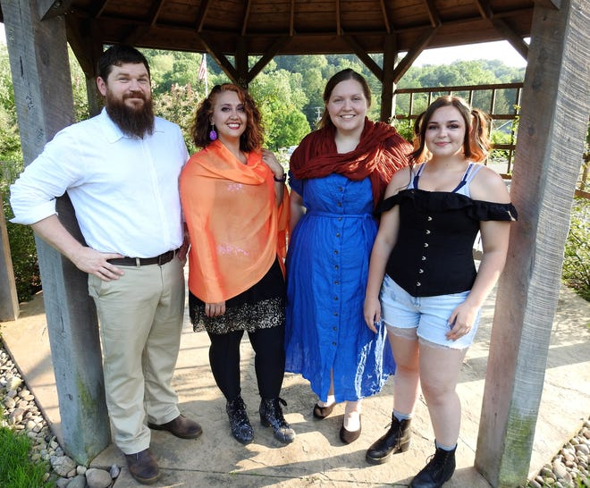 """Kyle and Mary McMullen, Kayla Wyers and Amanda Kittel are among the cast of """"Into the Woods"""" playing the first two weekends of August at Clary Gardens. The outdoor musical is the first  play from the new Rogue Elephant Productions."""
