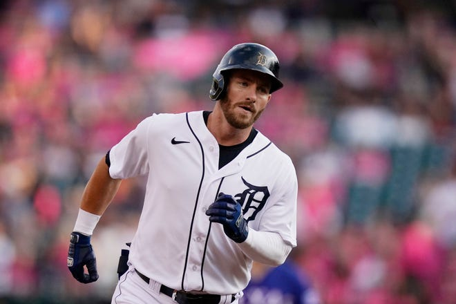 Detroit Tigers' Robbie Grossman rounds the bases after a solo home run off Texas Rangers starting pitcher Jordan Lyles during the first inning at Comerica Park in Detroit on Wednesday, July 21, 2021.