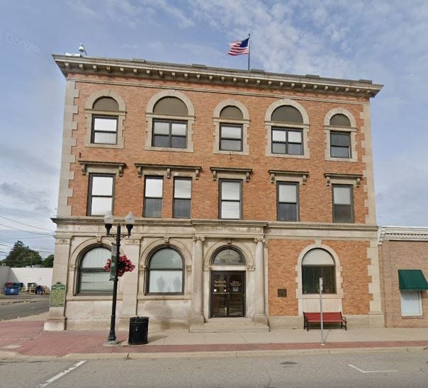 The County of Shiawassee Board of Commissioners, located at 201 North Shiawassee Street in Corunna.