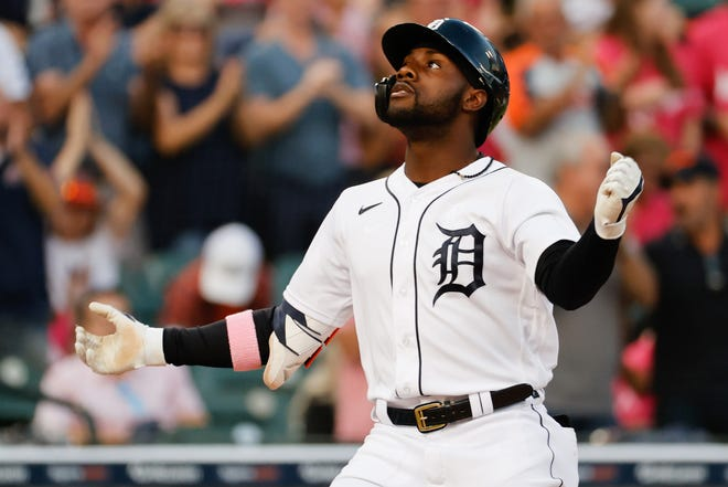 Detroit Tigers center fielder Akil Baddoo (60) celebrates after he hit a home run in the fifth inning against the Texas Rangers at Comerica Park in Detroit on Wednesday, July 21, 2021.