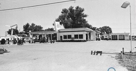 The original gas station and convenience store at the corner of Harmony Road and South College Avenue. It was originally known as Farmers 66.