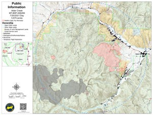 Nearly 240 homes and primary structures are currently threatened by the Alder Creek Fire, burning near the town of Wise River in southwestern Montana. Each black dot on this map represents a structure