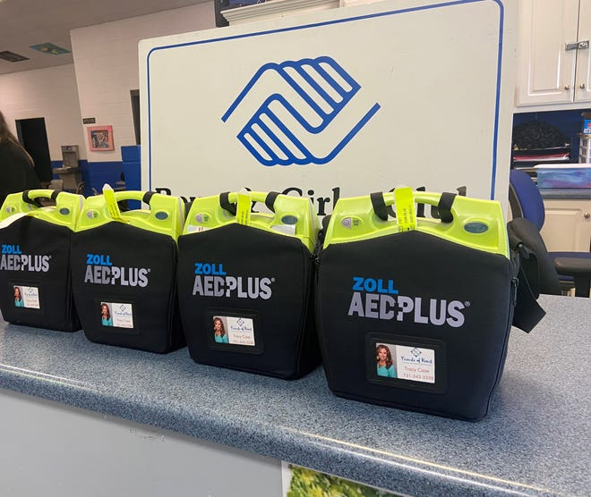 Four AED devices sit on the front desk of Boys and Girls Club of Jackson on Lexington Avenue. One will be sent to the location in Brownsville and two others will be sent to other Jackson locations.
