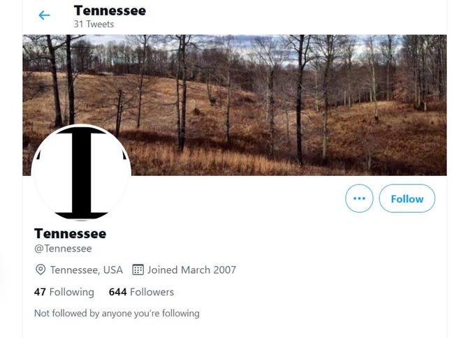 """A screen shot of the """"@Tennessee"""" Twitter account as it appeared on July 21, 2021."""