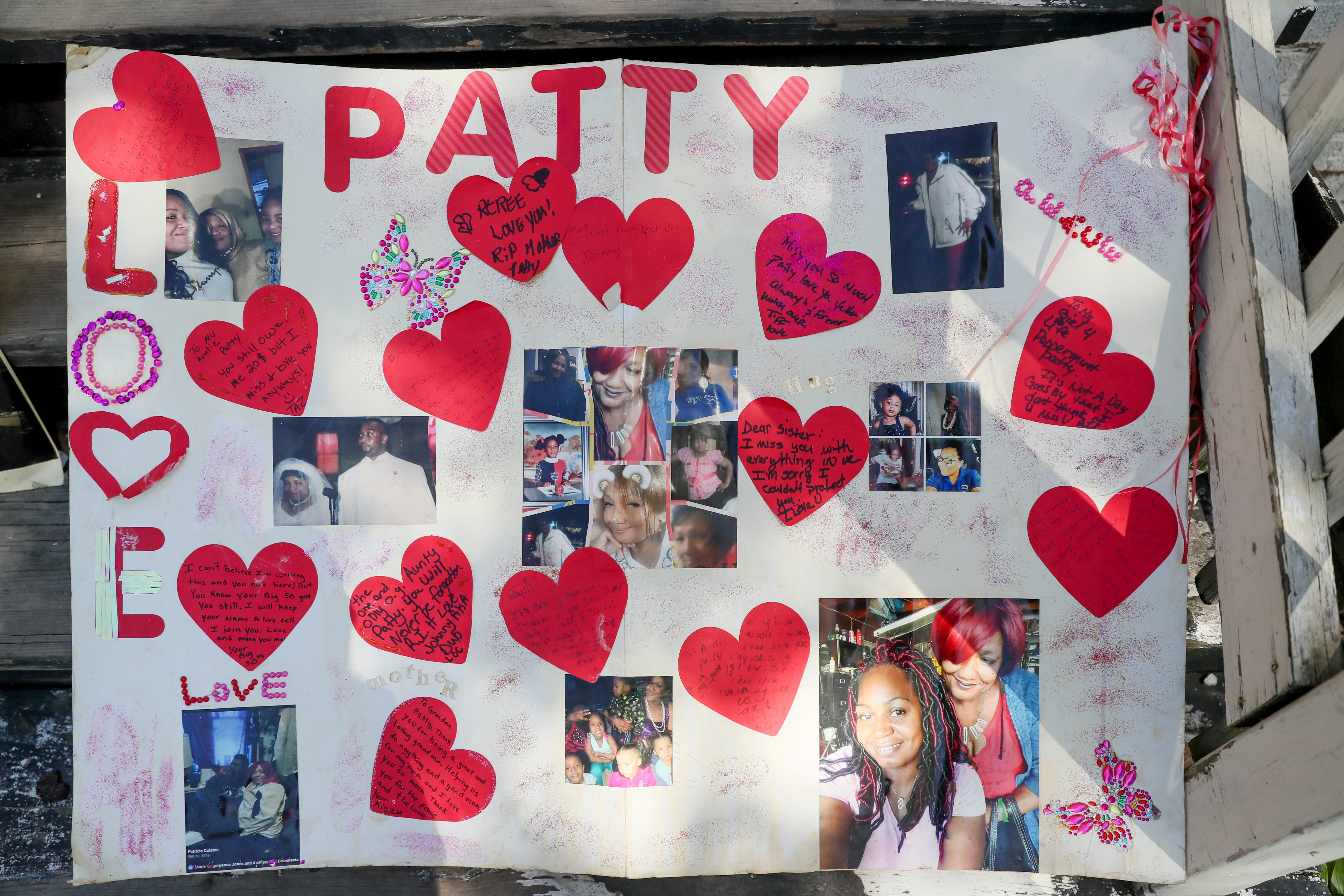 Tiffany McCarver put together poster boards as a way to grieve her mother's, Patricia Colston, death in a house fire.