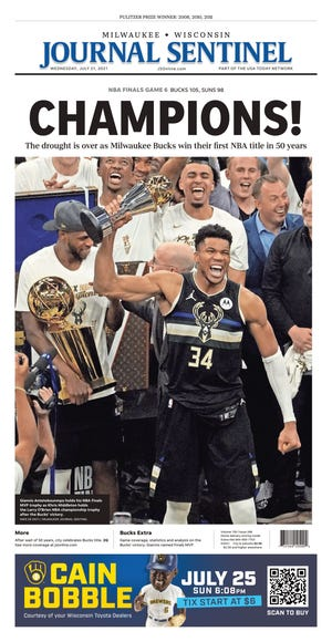 The July 21 edition of the Milwaukee Journal Sentinel celebrating the Bucks' NBA Finals