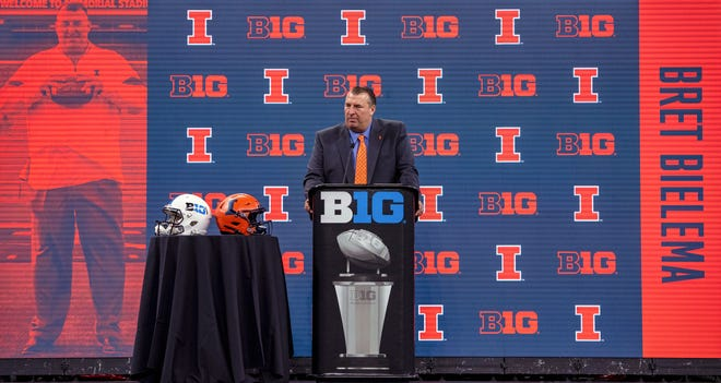 University of Illinois head coach Bret Bielema is shown during an NCAA college football news conference at the Big Ten Conference media days, Thursday, July 22, 2021, at Lucas Oil Stadium in Indianapolis. (AP Photo/Doug McSchooler) ORG XMIT: INDM112