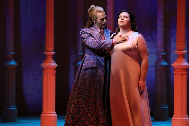 """Anthony Roth Costanzo and Kathryn Henry perform in """"The Lord of Cries"""" at Santa Fe Opera."""