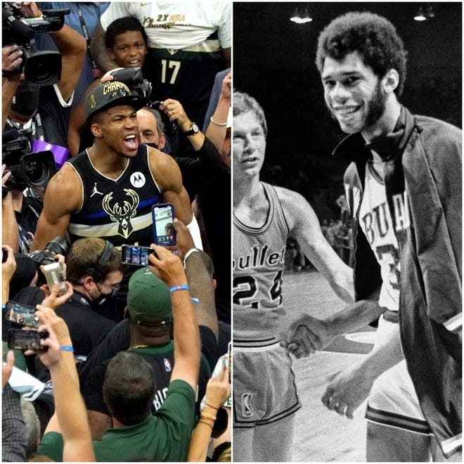 Giannis Antetokounmpo (2021) and Kareem Abdul-Jabbar (1971) are now linked in Bucks history in another way as NBA champions.