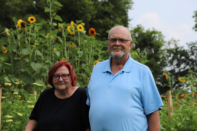 Richard and Diane Hungerford stand in front of their sunflowers. The couple started Backyard Blossoms after starting their one-acre garden in April.